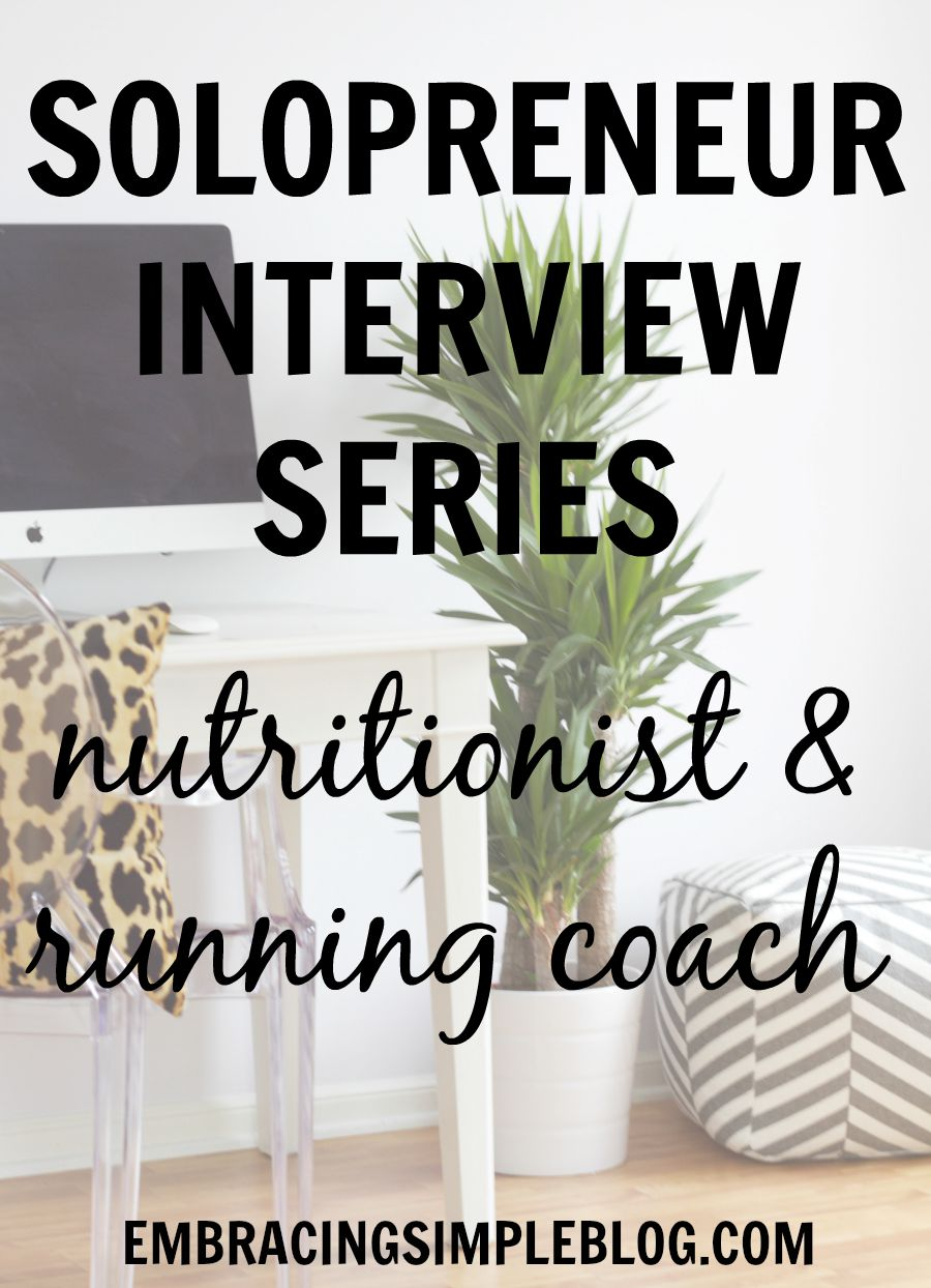 Are you interested in becoming self-employed and being your own boss? Don't miss this inspiring interview with a Nutritionist and Running Coach for the insightful advice she offers other aspiring Solopreneurs who desire to take the plunge into self-employment!