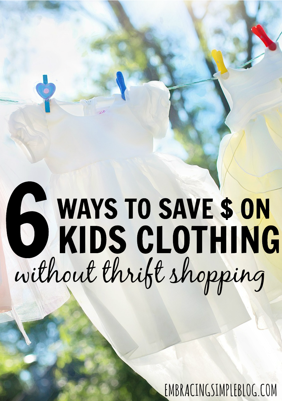 Looking for ways to dress your kids in cute outfits without spending a fortune to do so? Don't miss this awesome post to learn how to save money on kids clothing without thrift shopping!