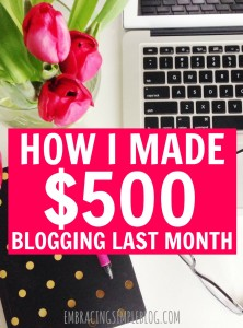 Want to know how I earned $500 last month through my blog? I'm sharing exactly how I earn an income from blogging in my September 2015 Blog Income and Traffic Report. Learn how to earn an income from home doing something you love!