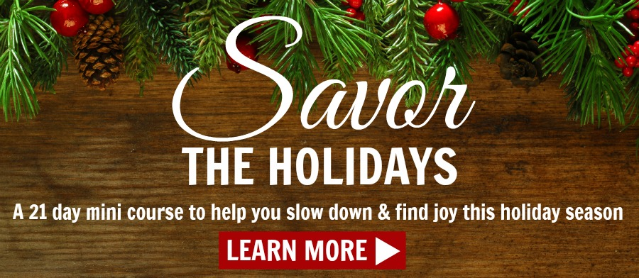 Are you tired of feeling frenzied and stressed out in the weeks between Thanksgiving and Christmas? Choose happiness and joy this year instead, and learn how to Savor the Holidays! Click to read how you can slow down and soak up all the joy this holiday season has to offer! :)