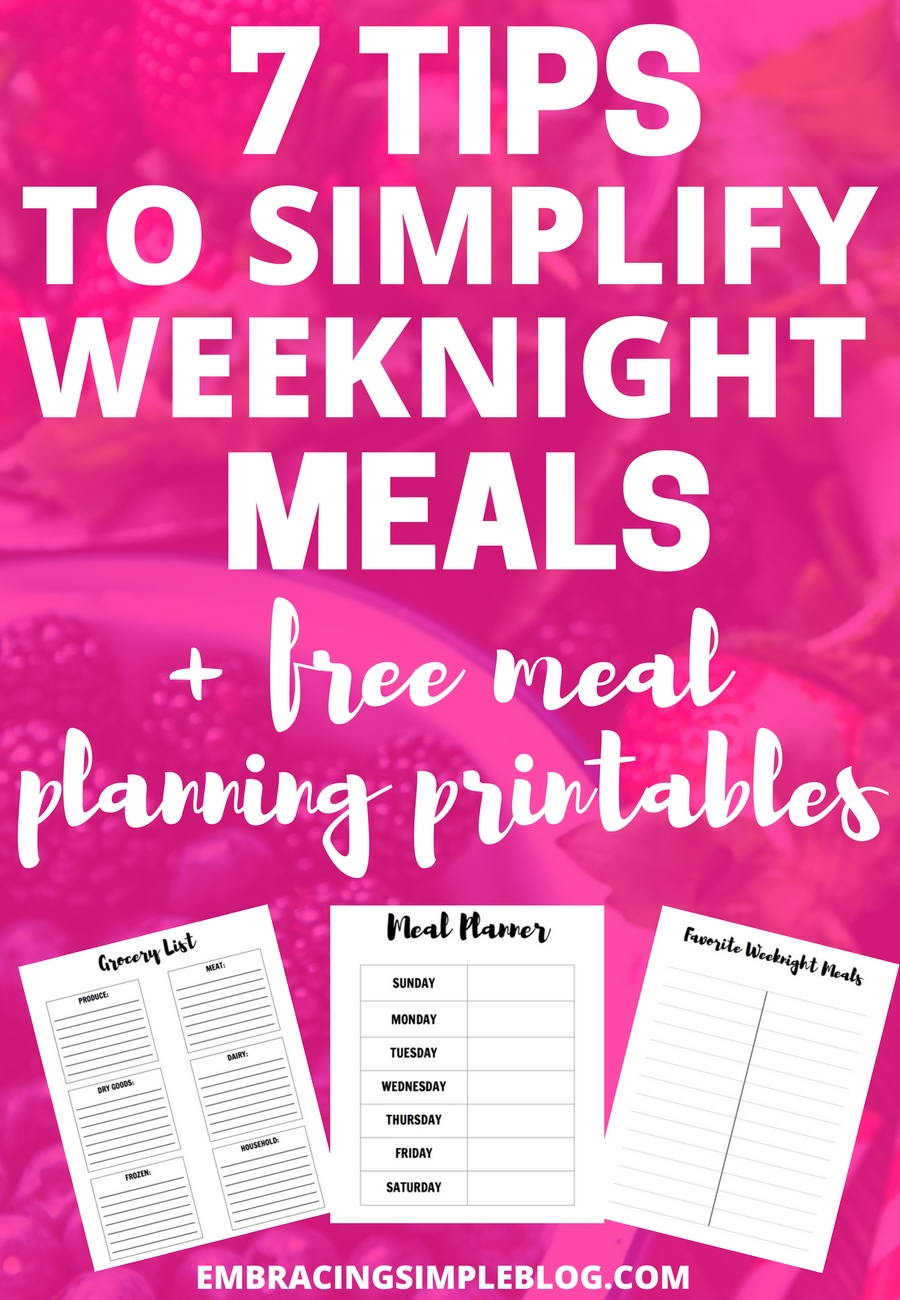 Do you struggle to get dinner on the table on weeknights? Then you will not want to miss these tips to simplify weeknight meals plus a free meal planning printable pack to help you get organized!